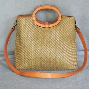 Fossil leather and straw cross body bag NWOT